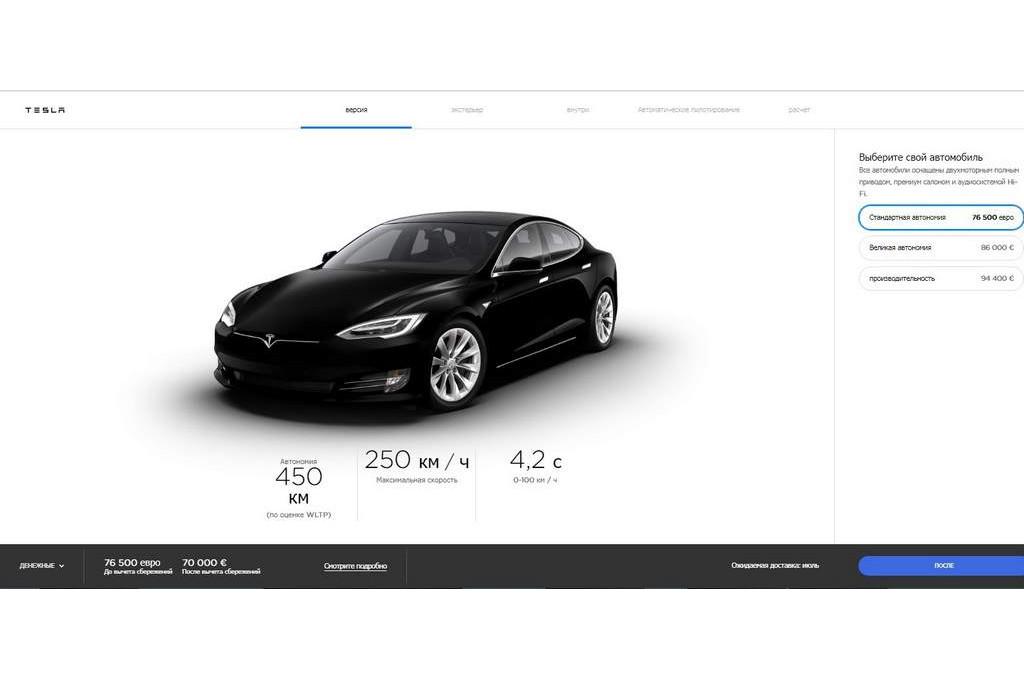 Tesla Model S Standard Reichweite черная